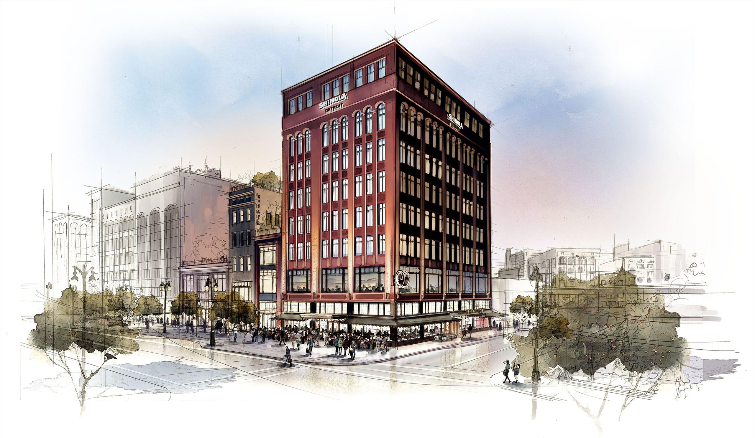 Le futur hôtel Shinola à Détroit, qui devrait ouvrir ses portes à l'automne 2018.